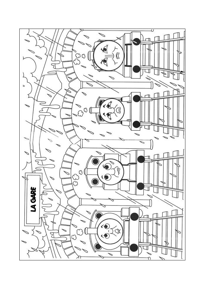 Thomas de trein - vier treintjes onder de brug